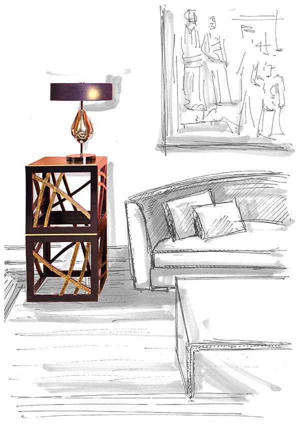 Tavolino Amadeo e Lampada Dafne - Contrada Degli Artigiani
